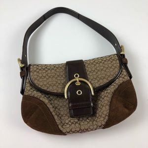 Coach monogram buckle front shoulder bag purse